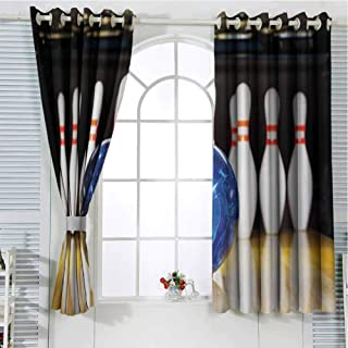 Grommet Window Curtain Window Curtain 2 Panel Bowling Party Decorations,Blue Abstract Ball on Lane Pins Close Up View Sports Leisure Game,Multicolor Curtain Living Room 108 x 72 inch