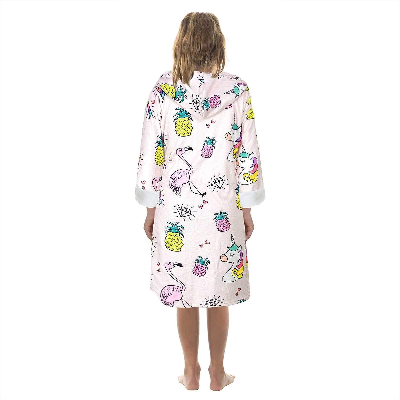 Kaerm Peignoir Licorne Fille Robe de Chambre Polaire /à Capuche Velours Hiver Chaud Doux Souple 7-12 Ans