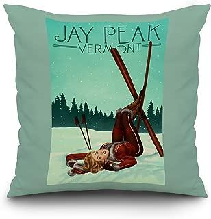 Lantern Press Jay Peak, Vermont - Ski Pinup (18x18 Spun Polyester Pillow, Custom Border)