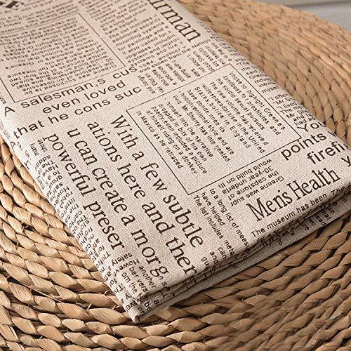 ONECHANCE Baumwollstoff Muster zum Nähen Meterware 100x150cm Leinenstoff Bedruckt für Polsterung Kissenbezug Color Zeitung Size 1 Meter