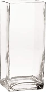 Rectangle Vase, Clear Glass Square Vase, Home Decor and Table Centerpieces Glass Vase (11.8''H x 3.9''W)
