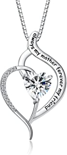 "FANCYCD ""Always My Mother Forever My Friend"" Love Heart Necklace, 18"", Special Jewelry for Women, Mother's Day Gifts for Mom, Wife, Aunt, Grandma."