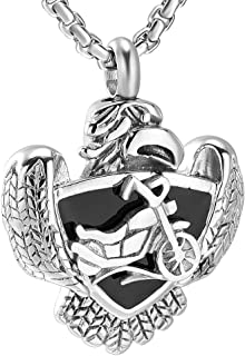 JC8225 Eagle&Motorcycle Memorial Urn Necklace Stainless steel Cremation Jewelry With Free Funnel
