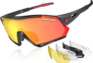 X-TIGER Polarized Sports Cycling Biking Sunglasses with 5 Interchangeable Lenses for Men Women