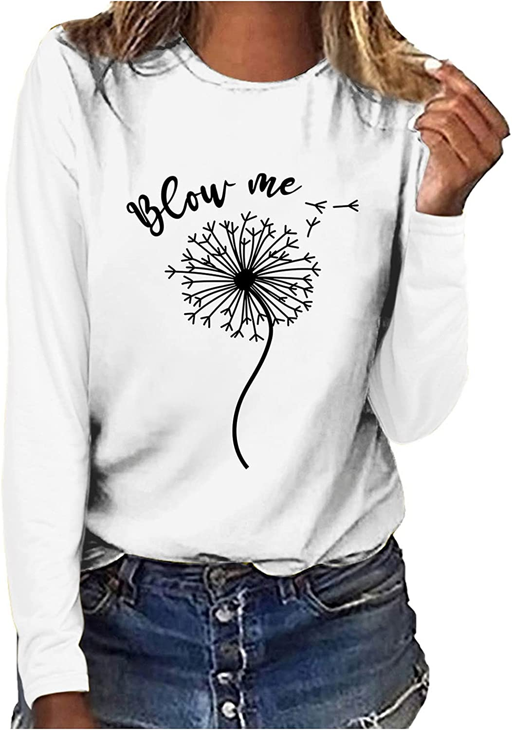 Womens Long Sleeve Tops Loose Fit Fall Crewneck T-Shirt Tunic Tops Blouse Shirts Pullover