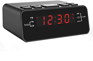 "Jingsense Digital Alarm Clock Radio, Small Alarm Clocks for Bedrooms with AM/FM Sleep Timer Radio, 0.6"" Red Digits LED Dimmer Display, Easy Snooze -Outlet Powered (Black-Red)"