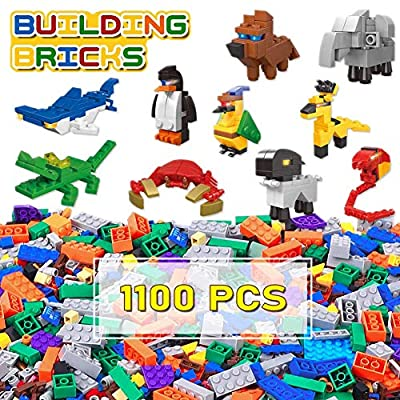 Lucky Doug Building Bricks 1100 Pieces Set, Classic Building Blocks with 10 Animal Block Kit in 16 Colors 26 Sharpes, Compatible with All Major Brands for Kids Boys Girls Ages 6+ from Lucky Doug