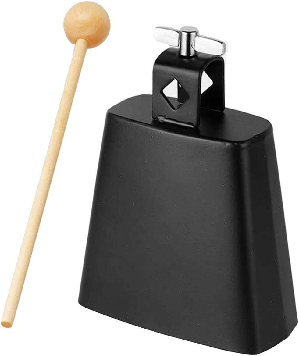 Metal Cowbell Noise Maker with Handle and Handle Stick Sports Games Cow Bell Drums Percussion 4-6 Cow Bell for Drumset Kit Percussion