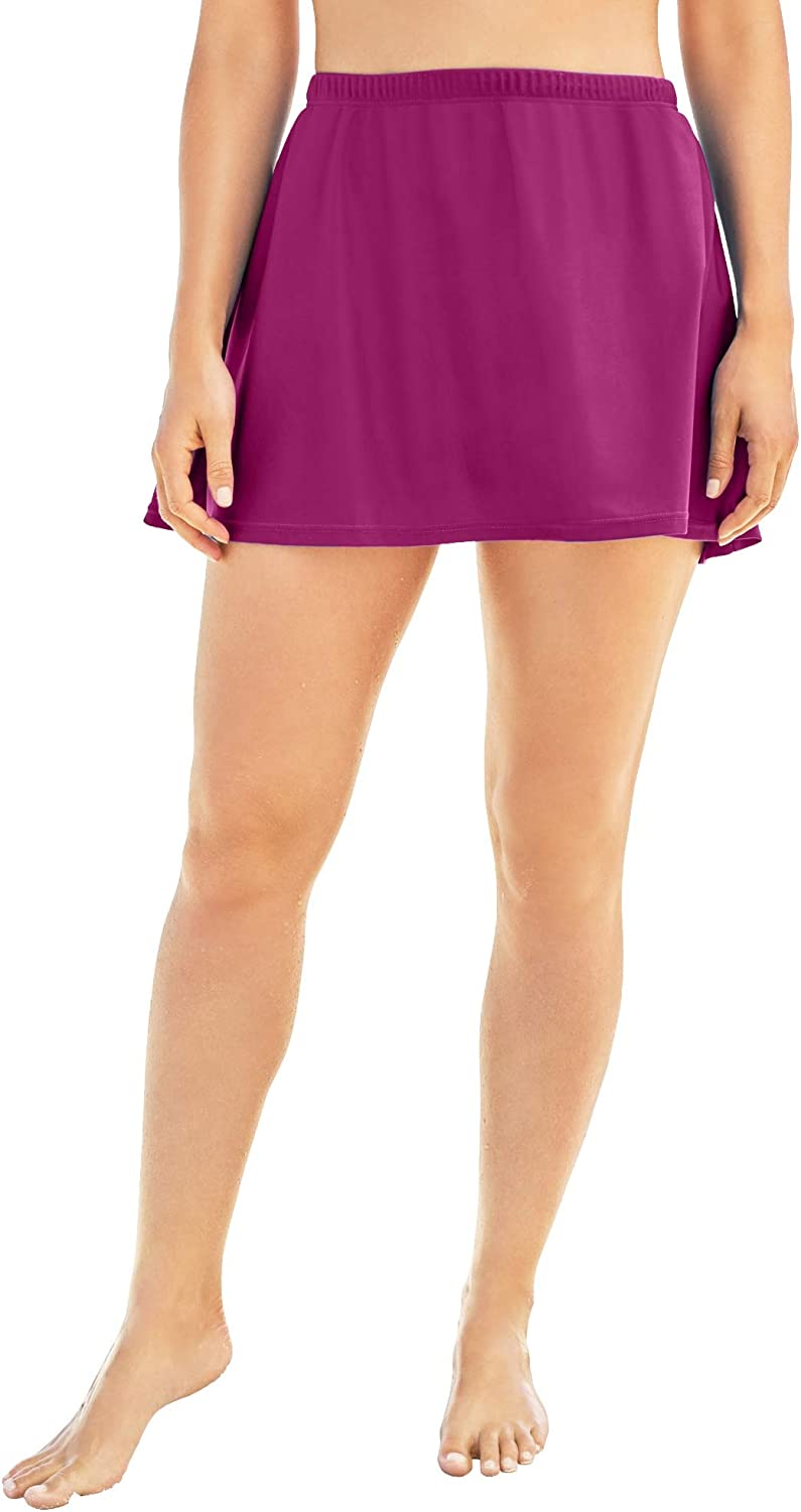 Swimsuits For All Women's Plus Size A-Line Swim Skirt with Built-in Brief Swimsuit Bottoms