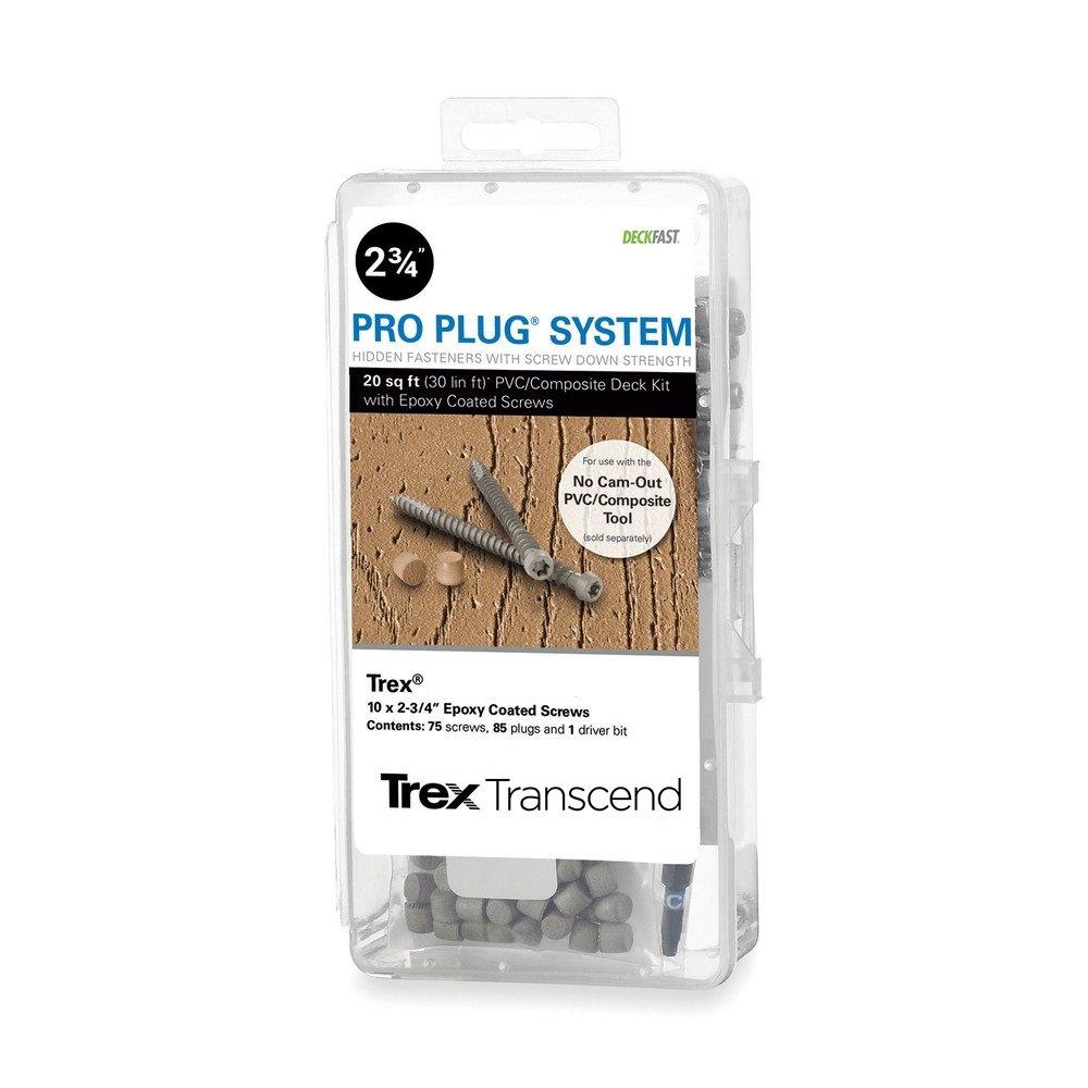 9 x 1-7//8 T-20 Star Dr 100 Pieces Pro Plug System for Fascia Plug /& Screw Kit Trex Wood Grain White Fascia Plugs /& Stainless Steel Screws