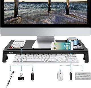 モニター台 机上台 パソコンスタンド パソコン台 usb 大容量 USBポート付き 収納 便利(ブラック)
