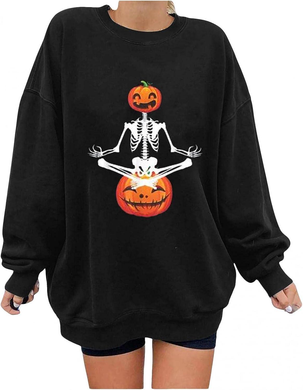 Jaqqra Halloween Sweatshirts for Women Oversized Long Sleeve Pumpkin Print Cute Graphic Shirts Loose Pullover Tops