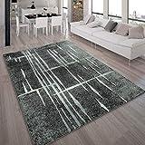 Alfombra De Diseño Moderna De Pelo Corto En Gris Negro Y Crema Jaspeada, tamaño:160x220 cm