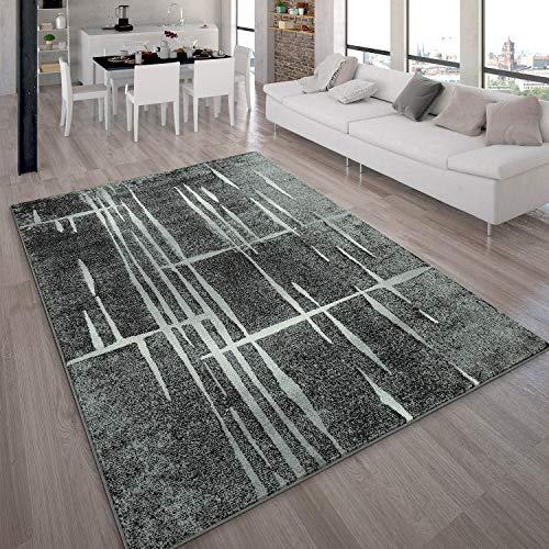 Tapis Design Moderne Poil Court Trendy Gris Noir Crème Moucheté, Dimension:120x170 cm