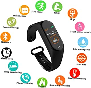 SBA999 NM-4 Smart Waterproof Intelligent Activity Tracker   Fitness Band Compatible to Xiaomi/Oppo/Vivo Mobile Phones Steps,Calorie Counter,BP, Heart Rate Monitor Music,Camera Controller