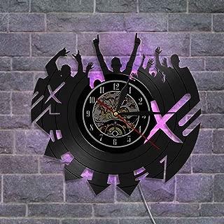 ユニークなビニールレコードの壁掛け時計、 クリエイティブウォールデコレーションギフト ナイトライトウォールクロック リモコン付き,A