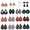Makone Halloween Earrings for Women, 16 Pairs Teardrop Faux Leather Dangle Earrings, Lightweight Halloween Costume Party Decoration Jewelry Set for Ladies