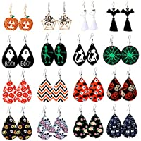 16-Pairs Makone Teardrop Faux Leather Dangle Halloween Earrings for Women