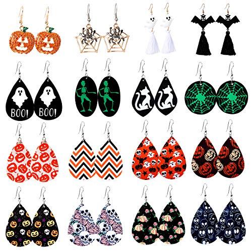 Makone - Pendientes de Halloween para mujer, 16 pares de pendientes colgantes de piel...