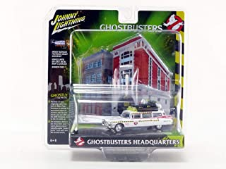 1959 Cadillac Ecto-1A Ambulance with Firehouse Exterior Diorama from Ghostbusters II (1989) Movie 1/64 Diecast Model by Johnny Lightning JLDR002/JLSP031
