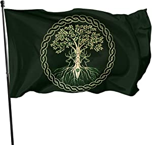 MINIOZE Celtic Ritual Norse Nordic Viking Goddess Wiccan Wicca Themed Welcome Party Outdoor Outside Decorations Ornament Picks Home House Garden Yard Decor 3 X 5 Ft Jumbo Large Huge Flag