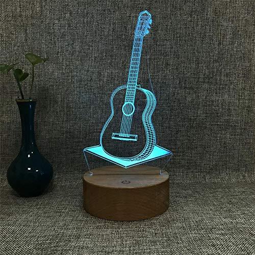 3d nachtlicht massivholzbasis l geschenklampe cartoon katze led liegend dekoration stecker tischlampe schlafzimmer nachttischlampe paar kind geburtstagsgeschenk-USB-Fernbedienung bunt_Gitarre