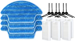 Janjunsi 4*Cleaning Mop Cloth+6*Side Brush+6*Hepa Filter Intelligent Sweeper Accessories Kit for Ecovacs Vacuum Cleaner CE...