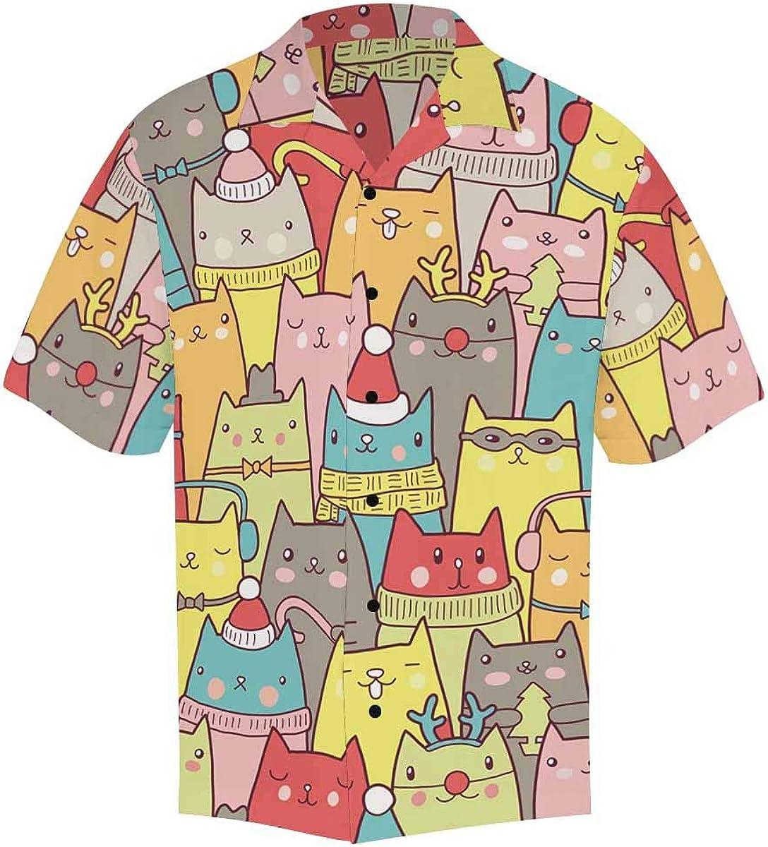 InterestPrint Men's Casual Button Down Short Sleeve Cute Dog Pattern Hawaiian Shirt (S-5XL)