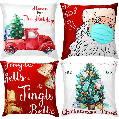 4 Pieces Christmas Pillow Cover Xmas Home Decorative Pillowcase Christmas Tree Bell Santa Pillow Cover Rustic Winter Holiday Throw Pillow Christmas Square Cushion Cover for Home Decor, 18 x 18 Inch