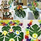 PietyDeko 96 Stück Tropische Palmblätter und Hawaiian Blumen für Dekorationen - 6