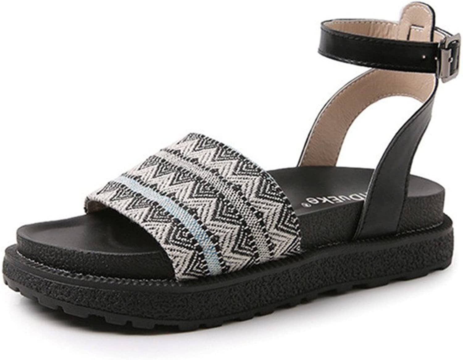 Gusha Casual Sandals Summer Women's Flat shoes Buckle Thick-Soled Platform shoes