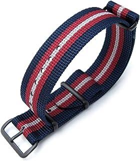 Cinturino MiLTAT 20mm, 21mm o 22mm G10 Bullet Tail Watch Strap, nylon balistico, PVD - Blu, rosso e grigio Stripes