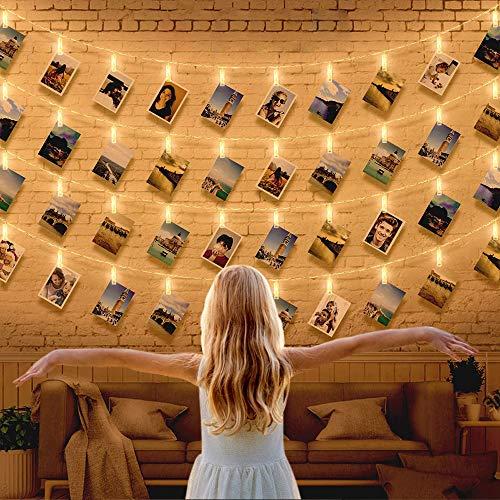 LED Fotoclips Lichterkette Foto Clip Lichterketten für Zimmer 5M 40 Fotoclips Warmweiß Lichterkette Batterie 2 Modi Stimmungsbeleuchtung Innen Dekor für Weihnachten Party Wohnzimmer Hochzeiten Metaku
