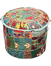 Asiento Pouffe Vintage Reposapiés Cubierta de Banco Verde Oscuro Indian Patchwork Bordado Algodón Tradicional Redondo Tela Puf otomano Cubierta (16x16x13 Pulgadas) 40cm