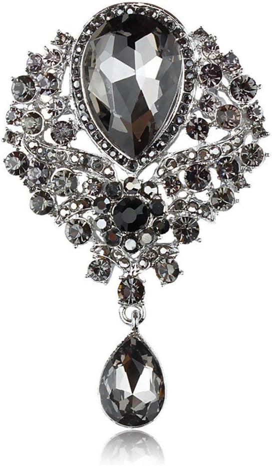 Reizteko Wedding Bridal Big Crystal Rhinestone Bouquet Brooch Pin for Women (Black)