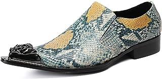 YOWAX Zapatos para Hombre Verde del Modelo de imitación de Piel de Serpiente Zapatos de Cuero de la Cabeza del Metal de la...