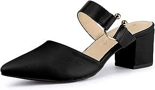 Allegra K Women's Pointed Toe Chunky Heel Dress Mules Pumps