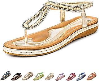 d88e99fc970362 Camfosy Sandales Femmes Plates Été, Chaussures Nu Pieds Claquettes Tongs  Plage à Talons Plats Semelle