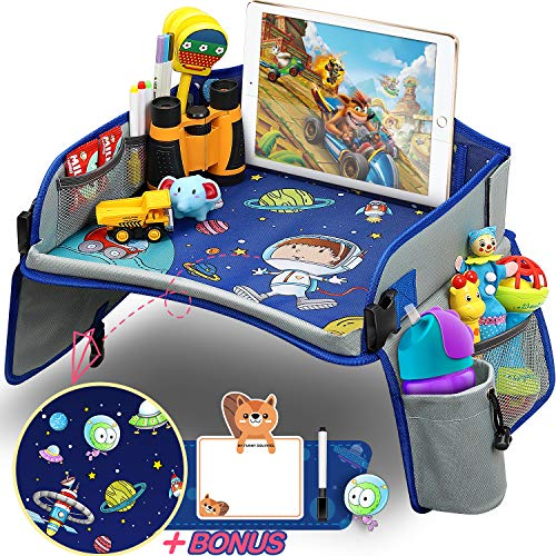 Kids Travel Tray, Car Seat Travel Tray with Colorful Space Top Toddler Car Seat Activity Tray More Organizer Pockets Large iPad & Cup Holder Car Seat Table for Stroller Airplane