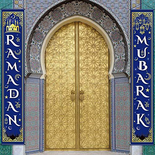 Eid Mubarak Decoration Set Eid Mubarak Porch Sign Ramadan Banner Hanging Decoration for Indoor/Outdoor Decoration Eid Al-fitr Party (Blue White)