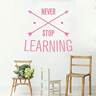 Wall Sticker Never Stop Learning Quotes Wall Stickers for Living Room Art Mural Removable Vinyl Wallpaper Unique Vinilos Paredes Decals 62x56cm Size can be Customized
