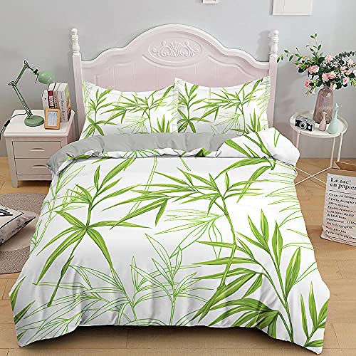 Colorful Green Bamboo Comforter Set Fashion Flowers Duvet Cover King/Double...