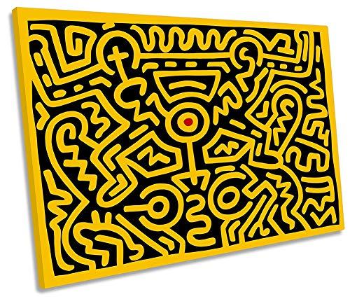 Canvas Geeks - Kieth Haring Nummer IV, gelb, 45 cm breit x 30 cm hoch