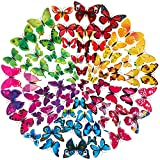 STARVAST 72PCS 3D Papillon Décoration, Papillon Autocollant pour Décoration de Maison et de la Chambre (6 Couleurs)