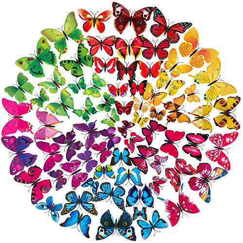 STARVAST Butterfly Wall Stickers Removable 3D Art Wall Mural Stickers Decal for Home and Room Decoration, 72 Pieces (6 Colors)