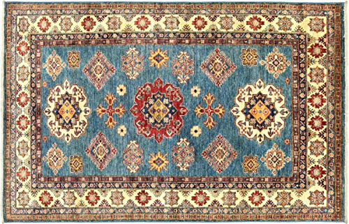 Teppichprinz Afghan Kazak Fein 211x148 Handgeknüpft Orientteppich 150x210 Blau