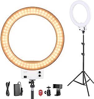 Neewer 18 Pulgadas LED Anillo de Luz Blanco con Kit de Iluminación, 42W 32000-5600K con Filtro Color, Adaptador de Zapata, Soporte para Móvil para Maquillaje, Cámara/Smartphone Disparo Video Youtube