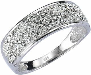 Crystelle  女士戒指925/-纯银镀铑处理 施华洛世奇元素 白色S: 21 340270001-021
