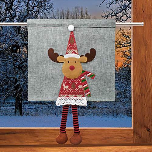 Delindo Lifestyle Scheibengardine Bistrogardine ELCH mit aufgestickten Applikationen, 35x40 cm, Moderne Gardine zu Weihnachten