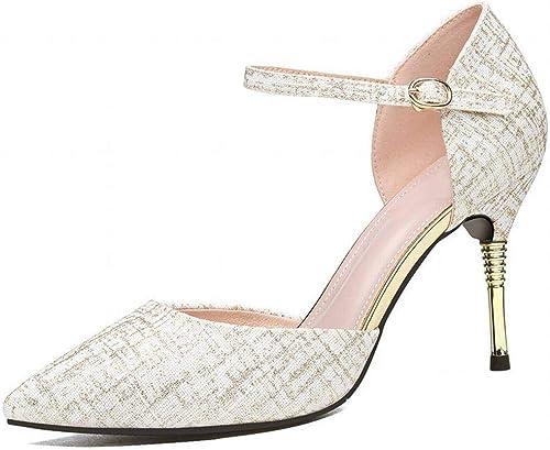 LTN Ltd - sandals Un Seul Bouton Sandales Femmes été Discothèque Sexy Chaussures à Talons Hauts, Chamois, 34